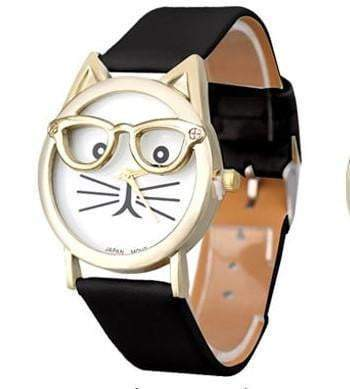 Luxury Brand Women Clock Cute Glasses Cat Watches