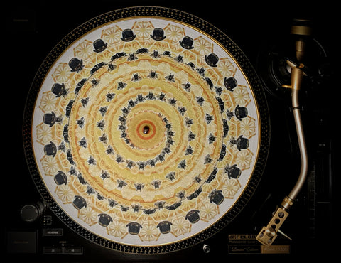 "Zoetrope Felt Turntable Slipmat  ""Bowler Hats & Bees 2"""