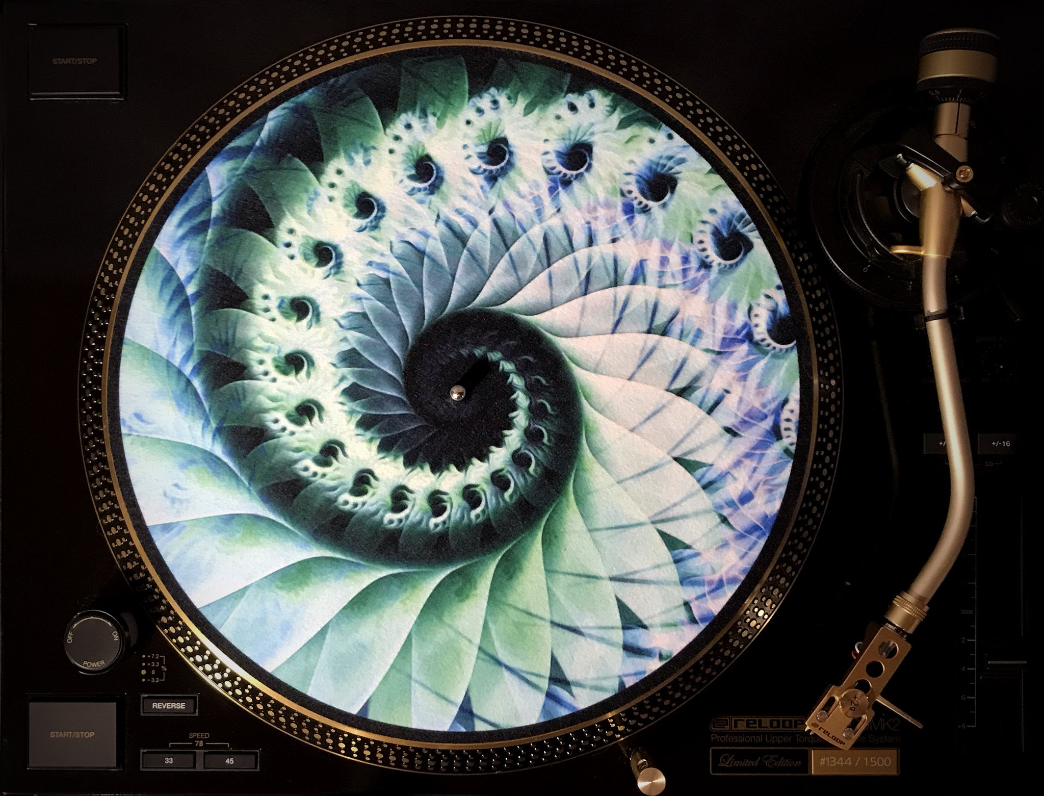 "Zoetrope Felt Turntable Slipmat ""Nautical Organic Spiral"""