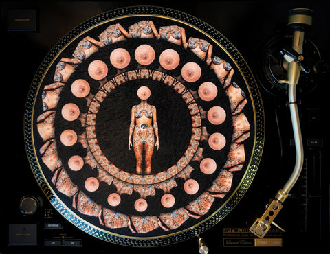 "Felt Zoetrope Turntable Slipmat ""Pussies, Boobs & Tattoos"""