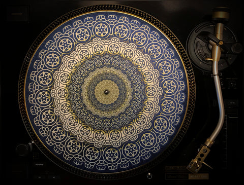 "Zoetrope Felt Turntable Slipmat  ""Cogwheel Gold"""