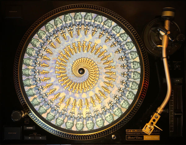 "Zoetrope Felt Turntable Slipmat ""The Fisher King"" Blue"
