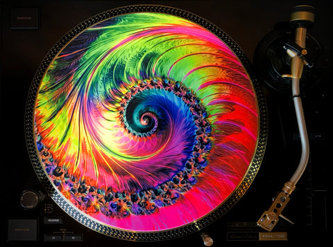 "Zoetrope Felt Turntable Slipmat  ""Tripofonica 1"" Glow-in-the-dark UV/Blacklight activated"