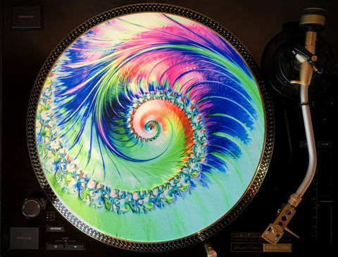 "Zoetrope Felt Turntable Slipmat  ""Tripofonica 2"" Glow-in-the-dark UV/Blacklight activated"