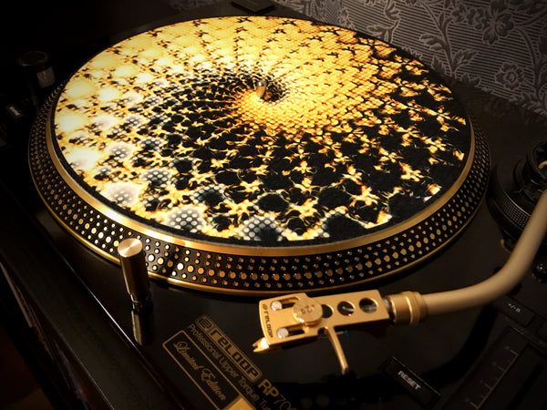 "Zoetrope Felt Turntable Slipmat ""Fire Fractal"""