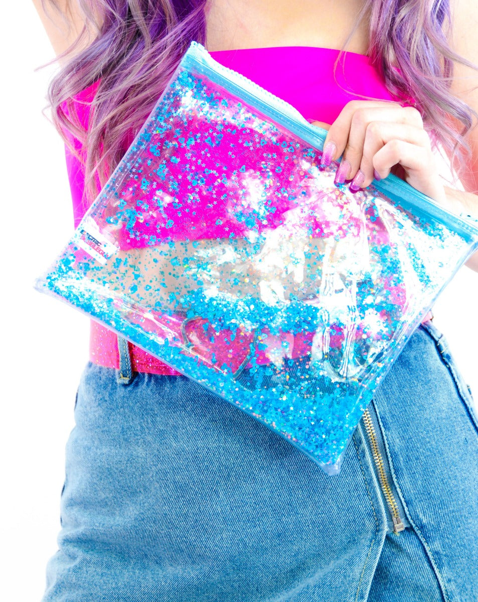 Liquid Glitter Make Up Bag - Blue My Mind - Electric Bubblegum