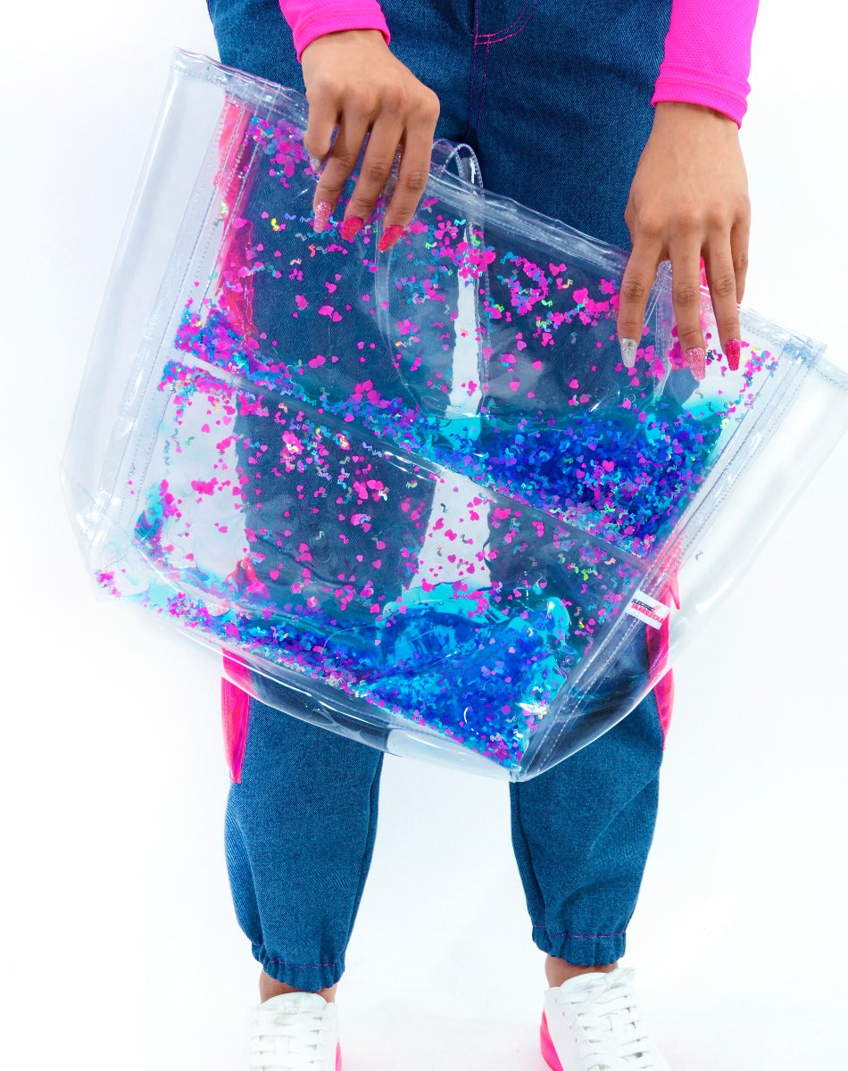 Liquid Glitter Tote Bag- To the Beat of My Heart