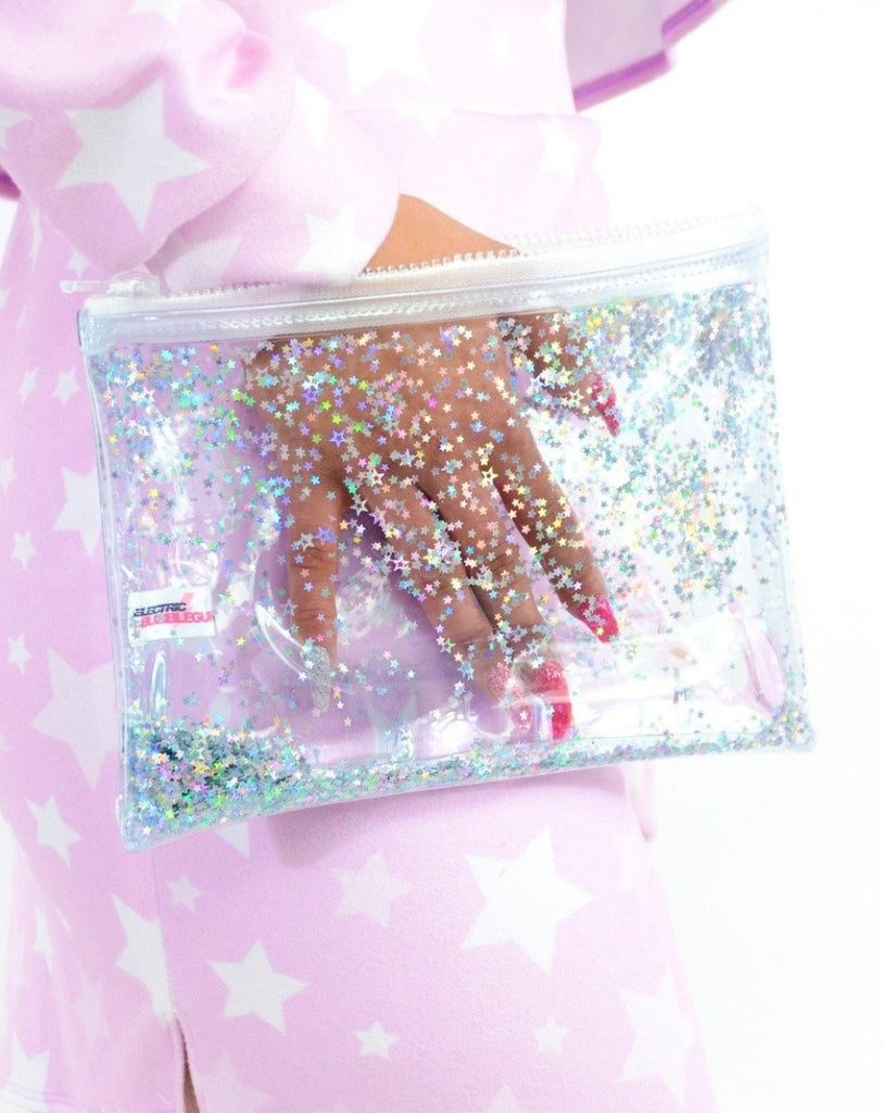 Liquid Glitter Zip Clutch - Atomic Silver