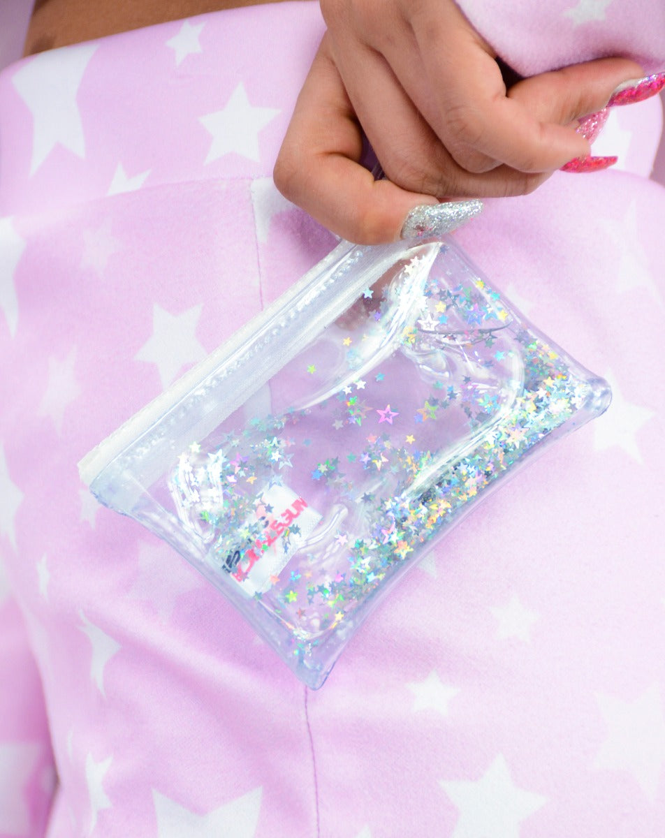 Liquid Glitter Coin Purse - Atomic Silver
