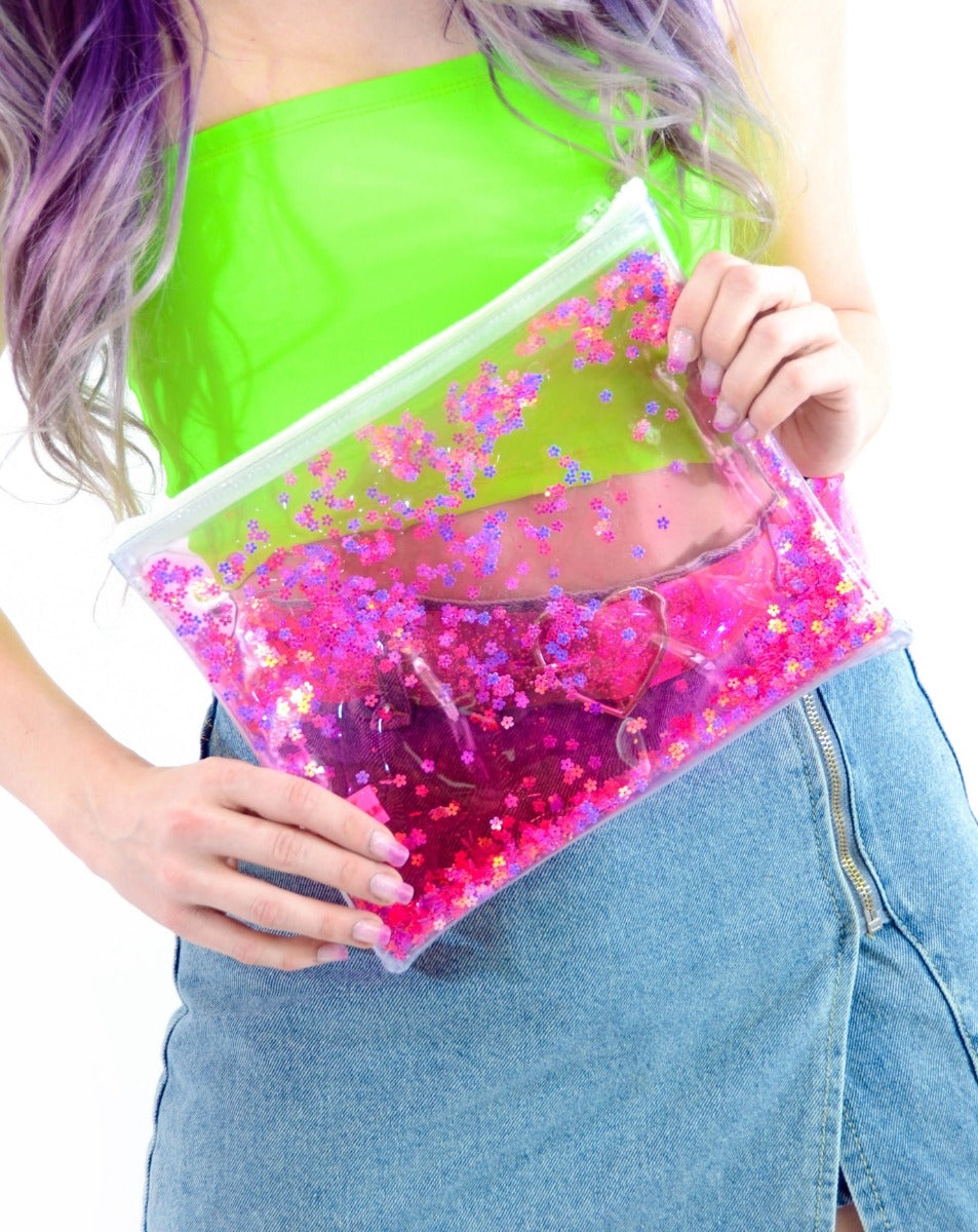 Liquid Glitter Make Up Bag - Flower Power - Electric Bubblegum