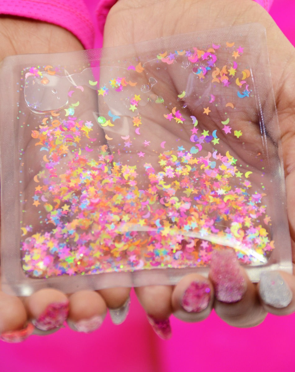 Liquid Glitter Sparkle Square - Over the Rainbow - Electric Bubblegum