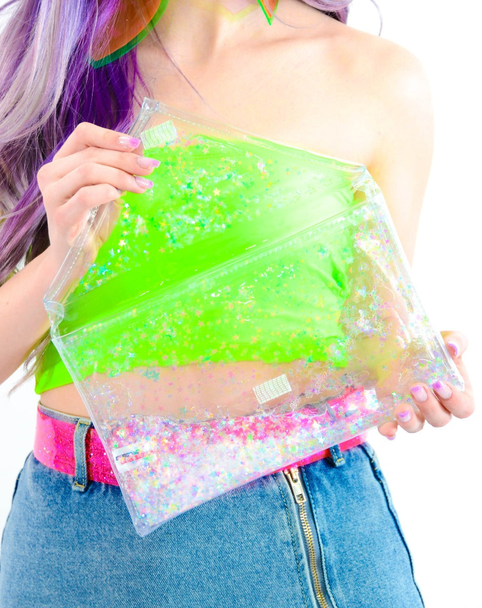 Liquid Glitter Fold Over - Transparent Rainbow - Electric Bubblegum