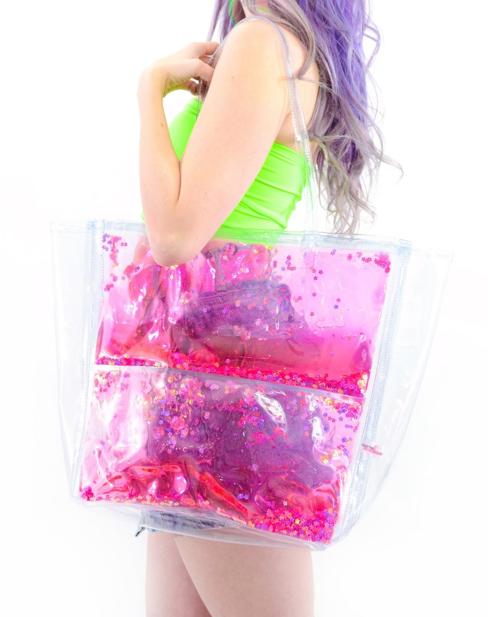 Liquid Glitter Tote Bag - Flower Power - Electric Bubblegum
