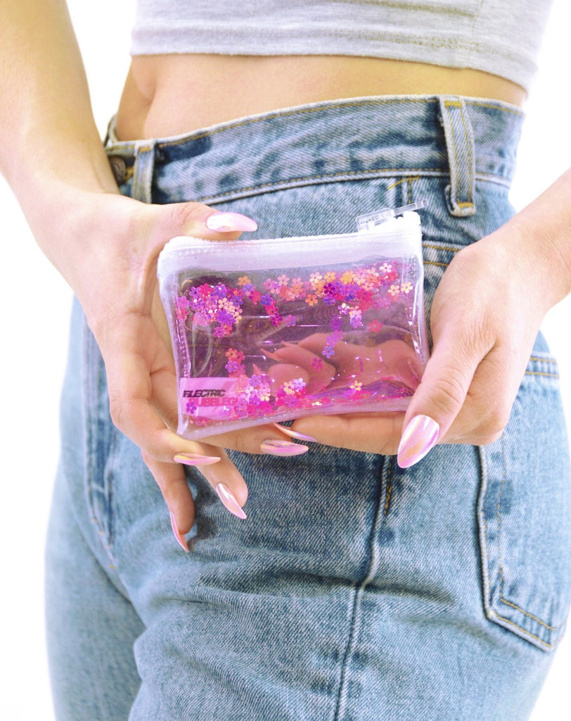 Liquid Glitter Coin Purse - Flower Power