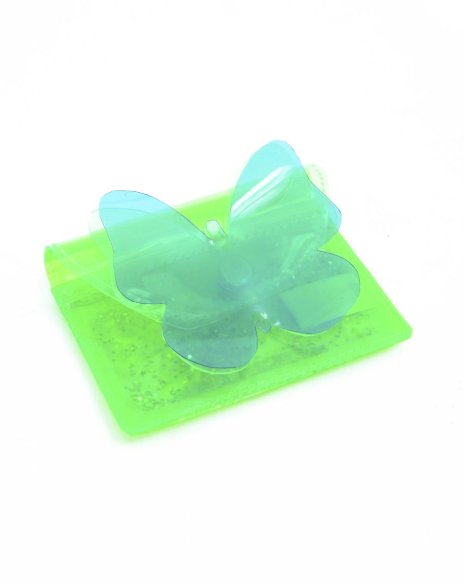 Butterfly Kisses Cardholder with Liquid Glitter - Green & Blue