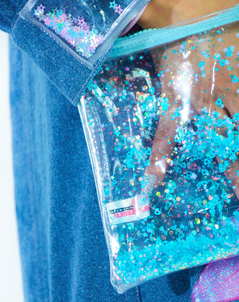 Liquid Glitter Zip Clutch - Blue My Mind