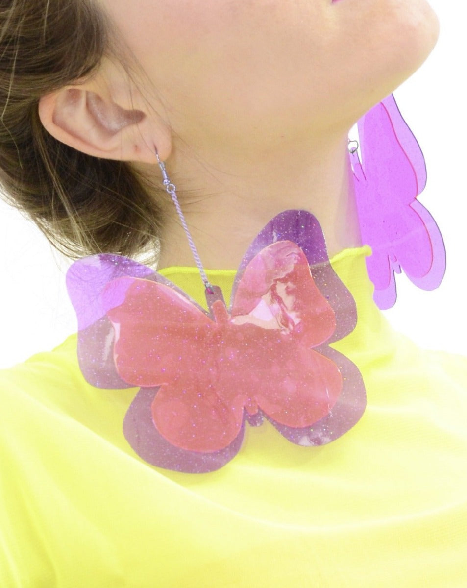 Butterfly Earrings - Pink & Purple