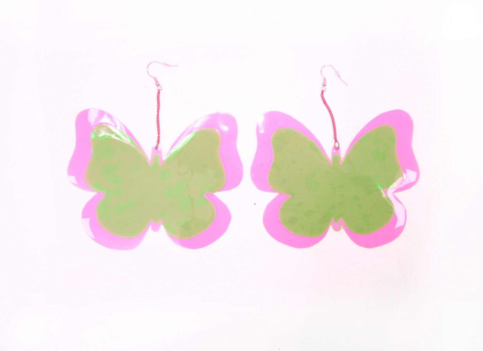 Butterfly Earrings - Pink & Green