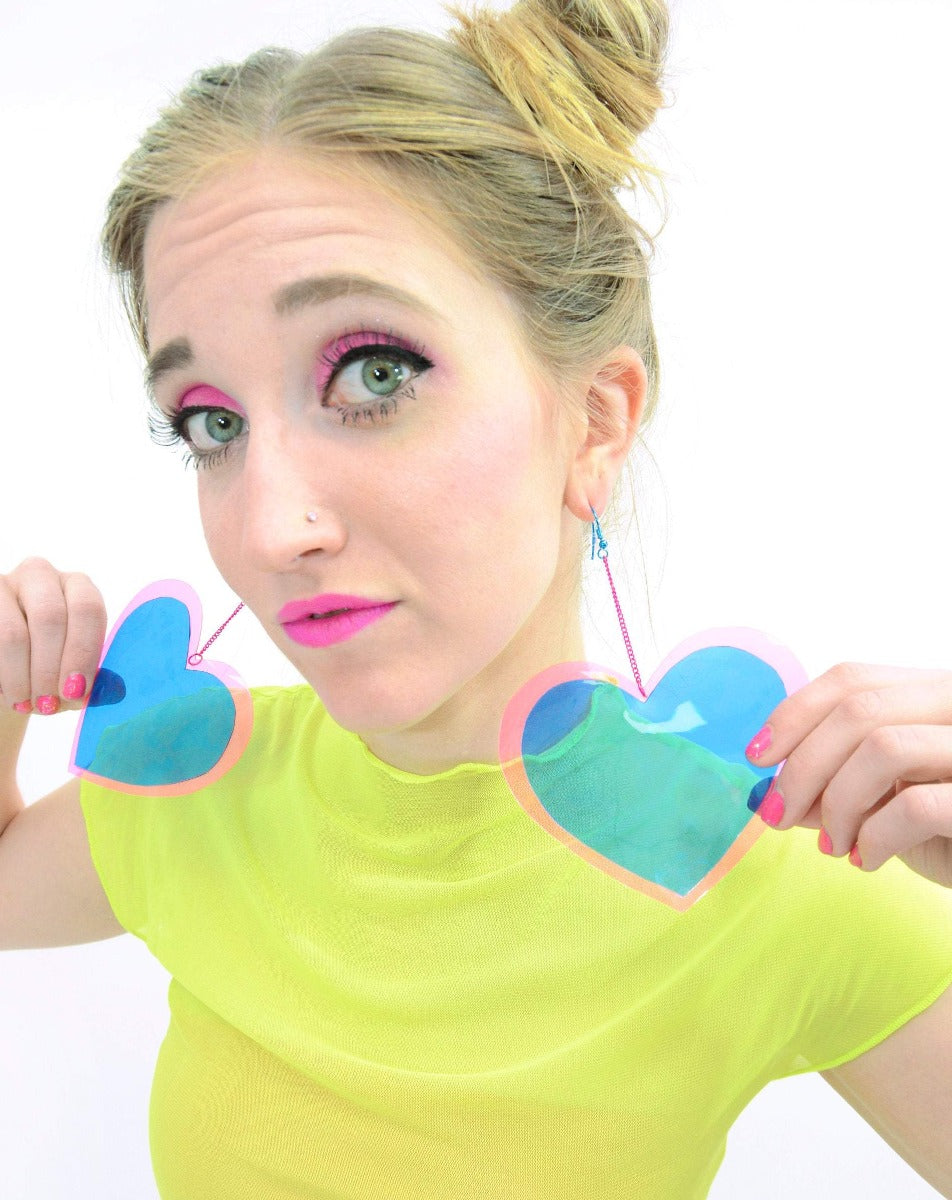 Neon Love Heart Earrings - Blue & Pink