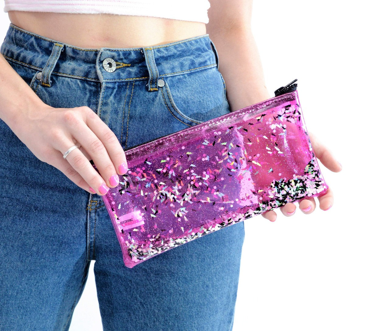 Liquid Glitter Pencil Case - Electric Bubblegum