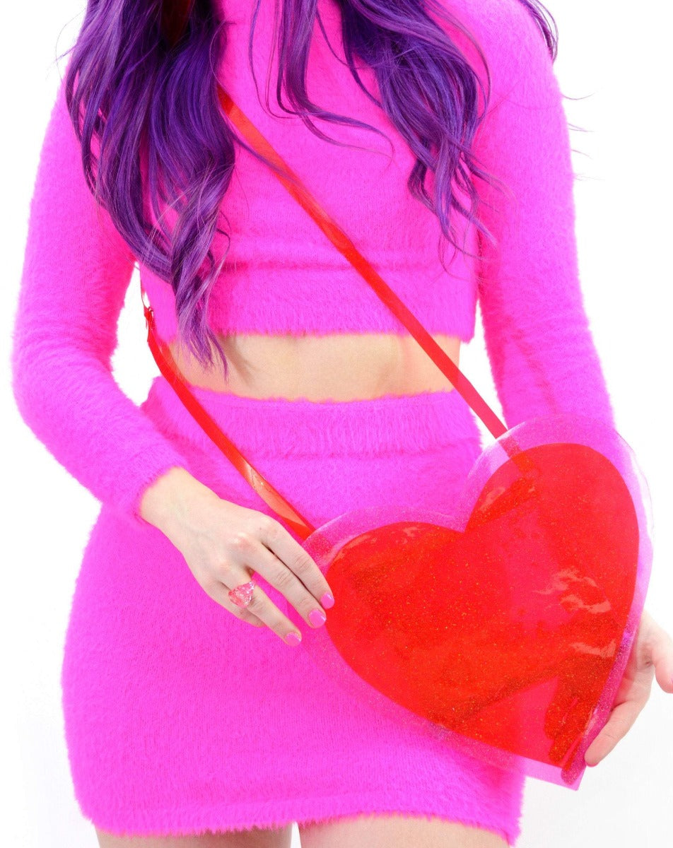 You Know You Love Me - Heart purse with liquid glitter