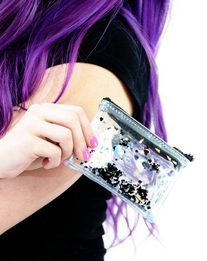 Liquid Glitter Coin Purse - Dark Hearts