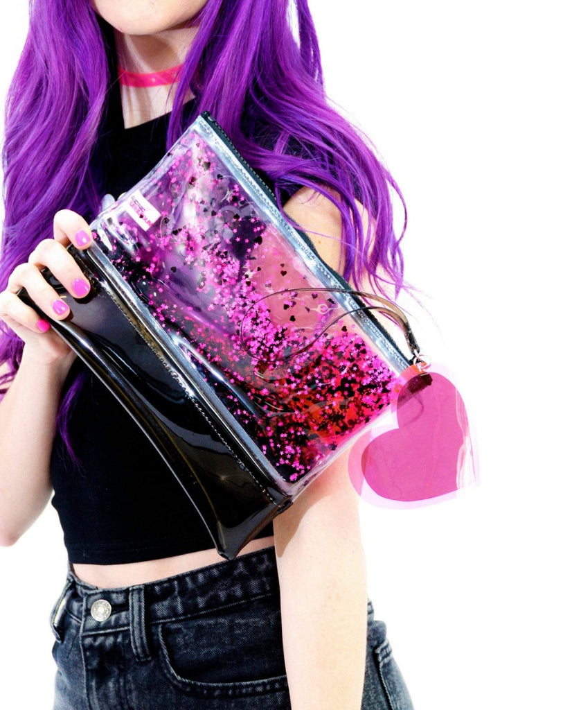 Liquid Glitter Wristlet - Dark Hearts