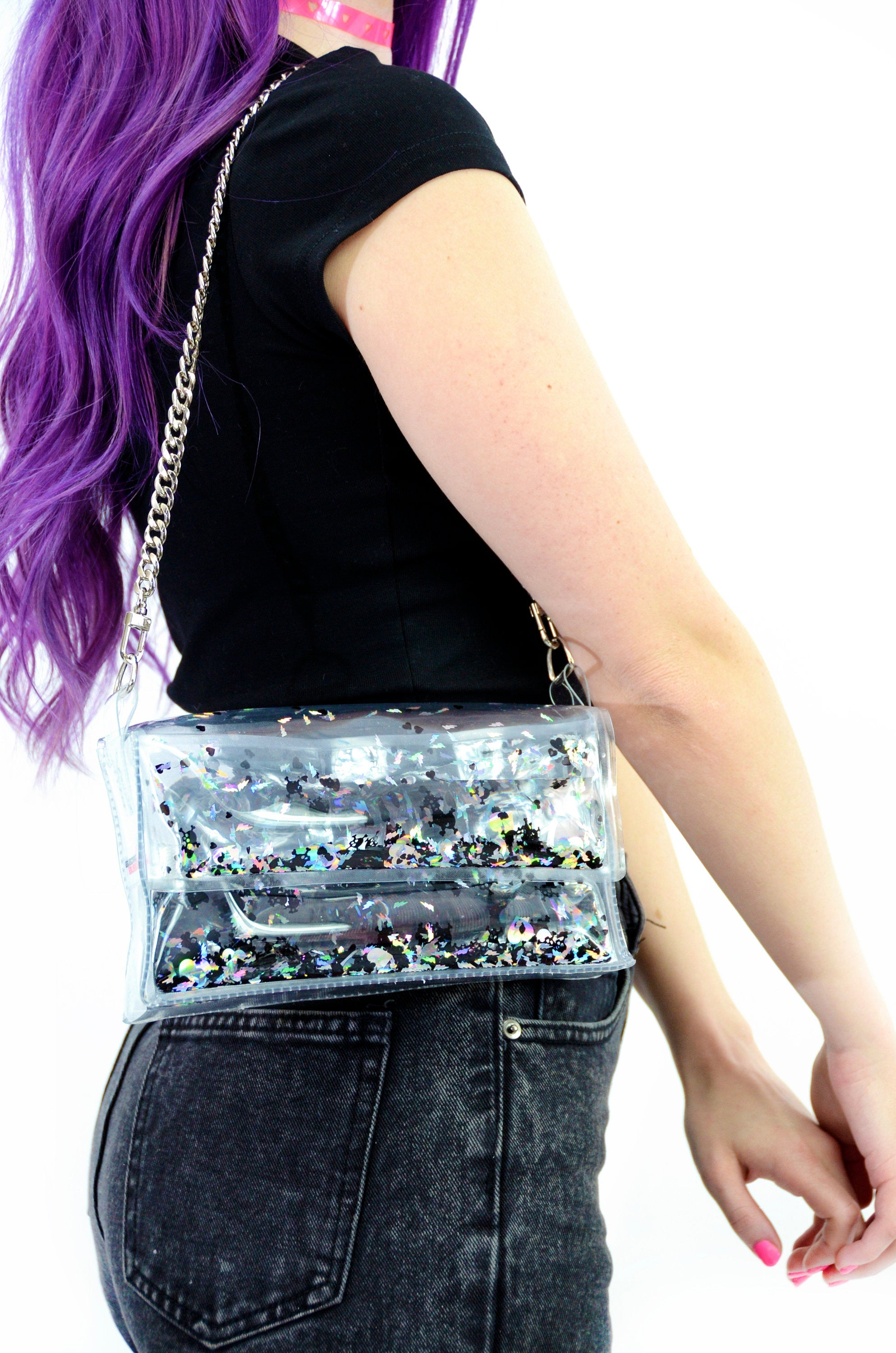 Liquid Glitter Mini Purse - Dark Hearts