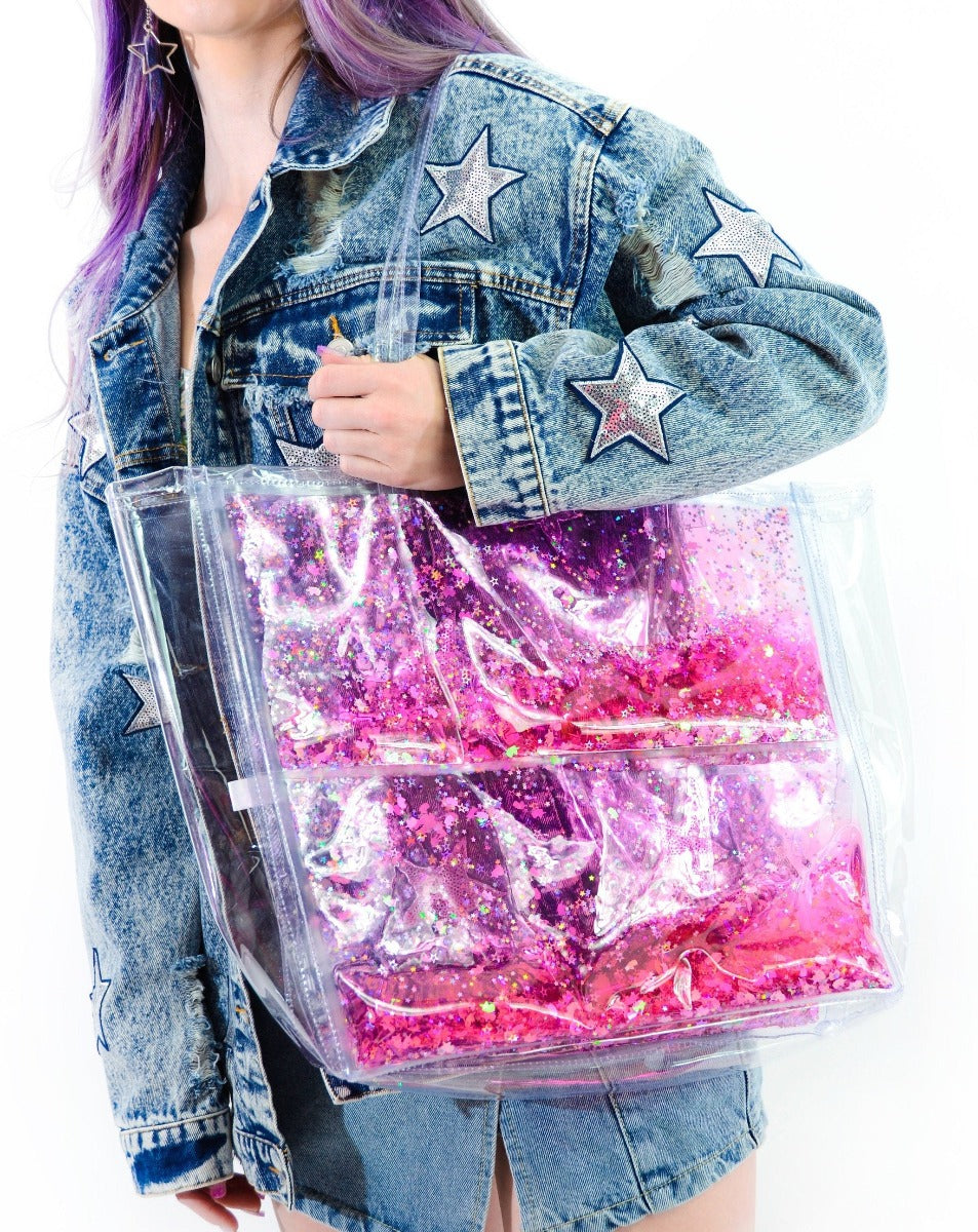 Liquid Glitter Tote Bag - Sparkling Unicorn