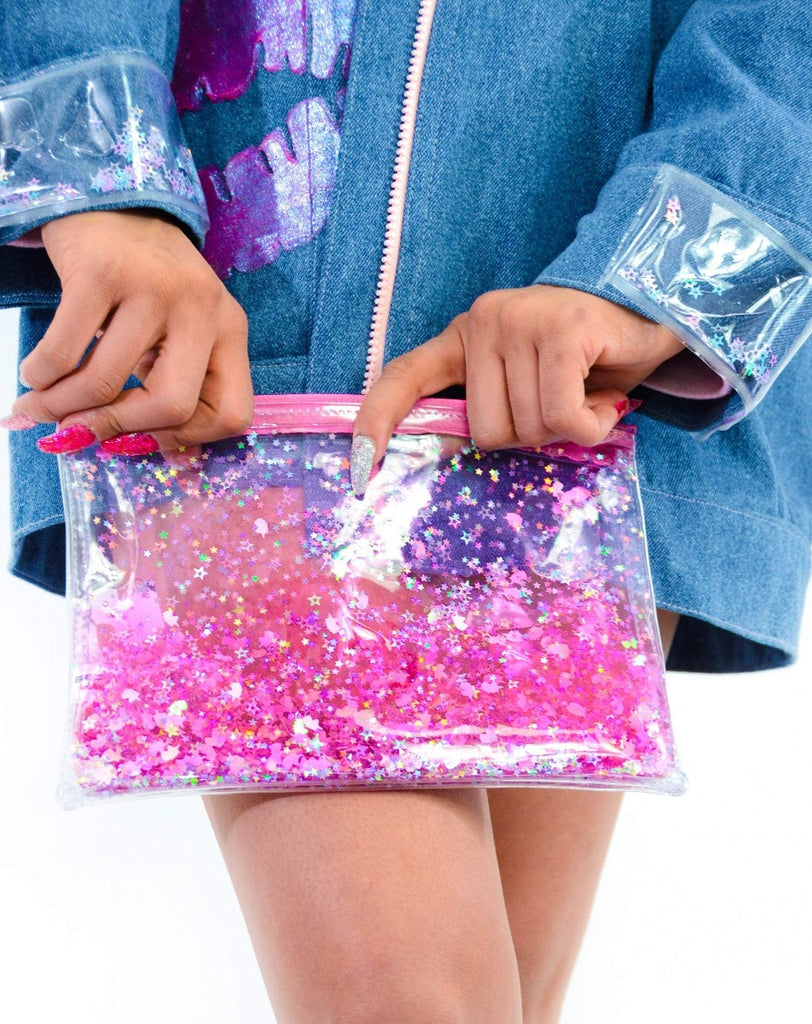 Liquid Glitter Zip Clutch - Sparkling Unicorn