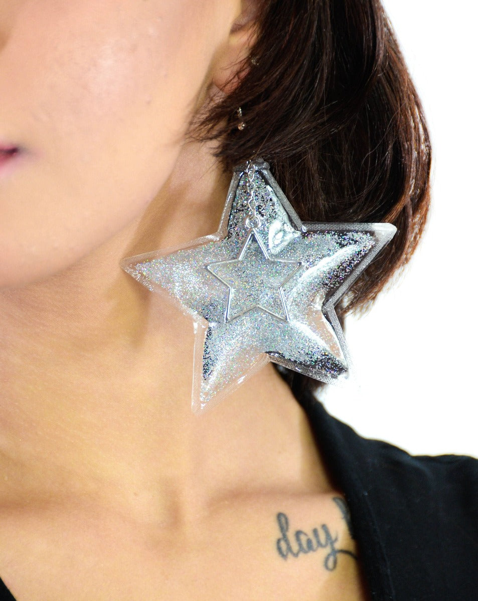 Glitter Goo Star Earrings - Starlight - Electric Bubblegum