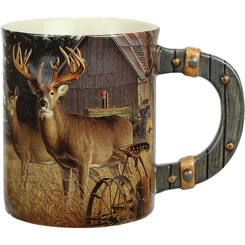 Rivers Edge Deluxe Mug Deer-farm Scene 15 Oz.