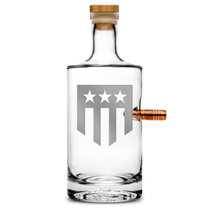 Premium .50 Cal BMG Bullet Bottle Set, Jersey Whiskey Decanter, THF Shield Logo, 750mL by Integrity Bottles