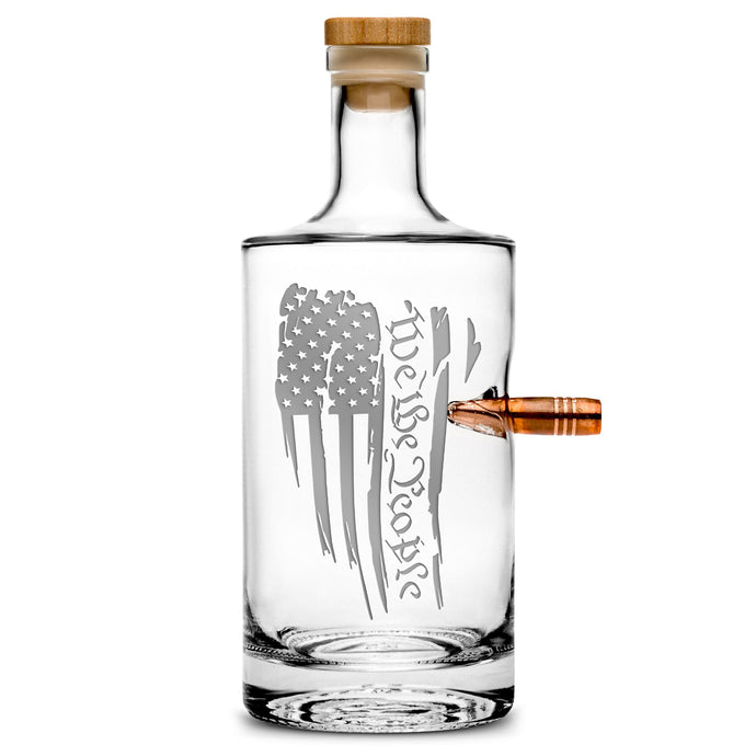 Premium .50 Cal BMG Bullet Bottle, Jersey Whiskey Decanter, We The People Flag, 750mL