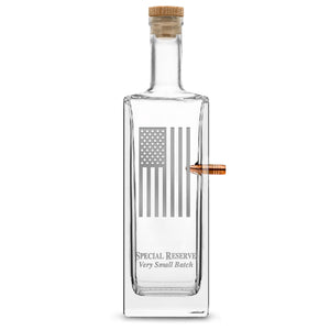 Premium .50 Cal BMG Bullet Bottle, Liberty Whiskey Decanter, American Flag, 750mL by Integrity Bottles