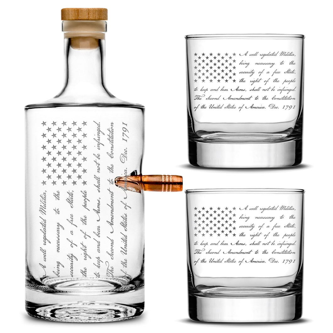 Premium .50 Cal BMG Bullet Bottle Set, Jersey Whiskey Decanter, 2nd Amendment Flag, 750mL by Integrity Bottles