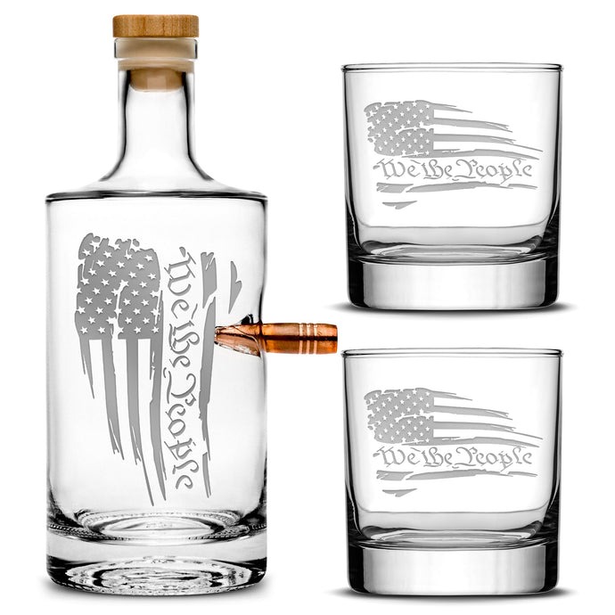Premium .50 Cal BMG Bullet Bottle Set, Jersey Whiskey Decanter, We The People Flag, 750mL