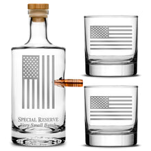 Load image into Gallery viewer, Premium .50 Cal BMG Bullet Bottle Set, Jersey Whiskey Decanter, American Flag, 750mL by Integrity Bottles