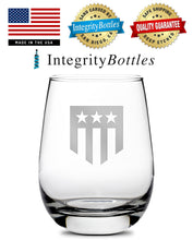 Load image into Gallery viewer, Premium Stemless Wine Glass, Hand-Etched, THF Shield Logo, Made in USA, 11oz by Integrity Bottles