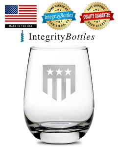 Premium Stemless Wine Glass, Hand-Etched, THF Shield Logo, Made in USA, 11oz by Integrity Bottles