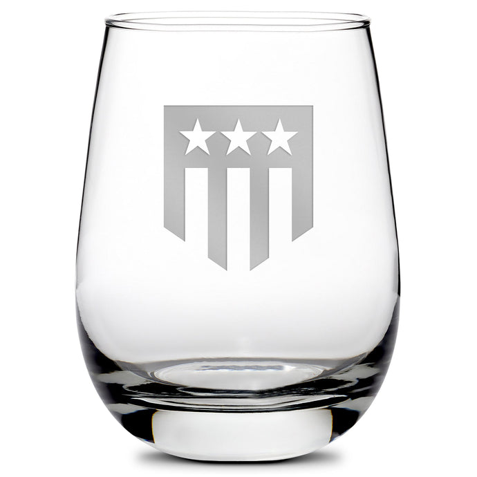 Premium Stemless Wine Glass, Hand-Etched, THF Shield Logo, Made in USA, 11oz