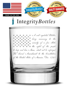 Premium Whiskey Glass, Hand-Etched Liquor and Rocks Tumbler, 2nd Amendment Flag, Made in USA, 11oz