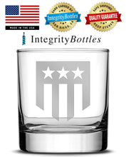Load image into Gallery viewer, Premium Whiskey Glass, Hand-Etched Liquor and Rocks Tumbler, THF Logo, Made in USA, 11oz by Integrity Bottles