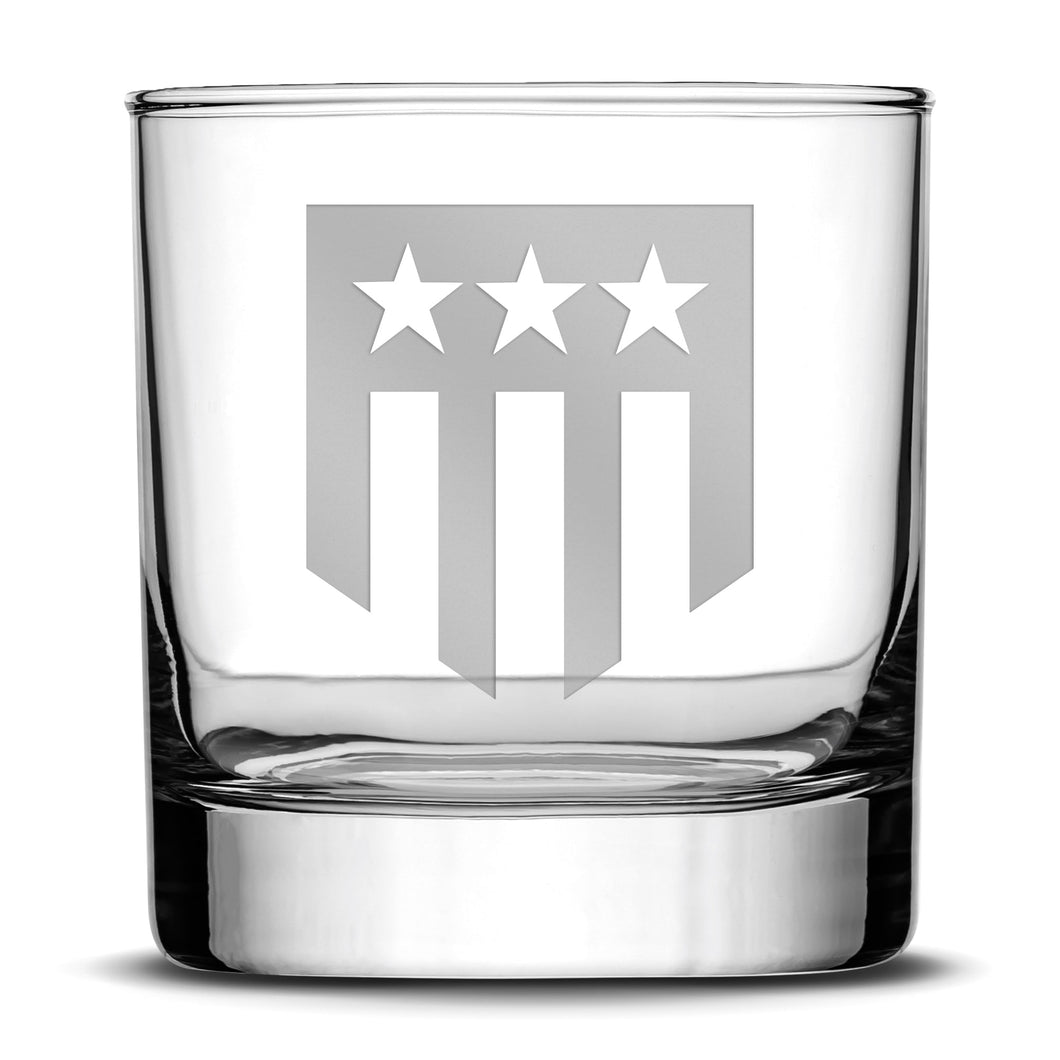 Premium Whiskey Glass, Hand-Etched Liquor and Rocks Tumbler, THF Logo, Made in USA, 11oz by Integrity Bottles