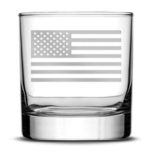 Load image into Gallery viewer, Premium Whiskey Glass, Hand-Etched Liquor and Rocks Tumbler, American Flag, Made in USA, 11oz by Integrity Bottles