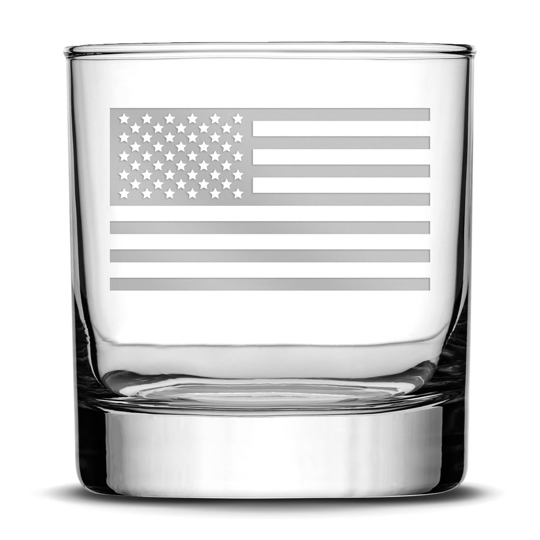 Premium Whiskey Glass, Hand-Etched Liquor and Rocks Tumbler, American Flag, Made in USA, 11oz by Integrity Bottles