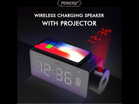 Alarm Clock Radio with Time Projection Wireless Charging Bluetooth Speaker by ROBOQI