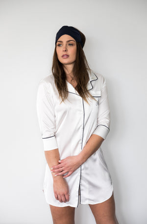Classic Nightshirt - White with Navy Trim