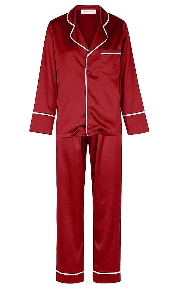 CHRISTMAS Classic Long Pyjama Set - Red with White Trim
