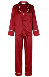 Classic Long Pyjama Set - Red with White Trim